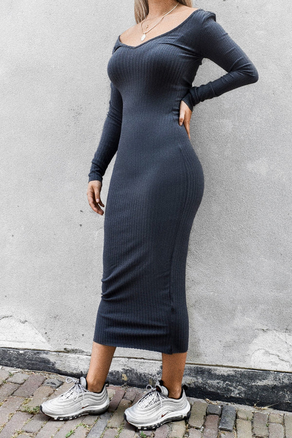Bardot Ribbed Dress Grey