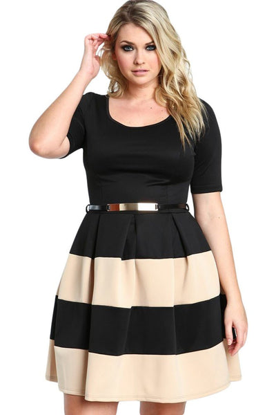 Women\'s Plus Size Office Dress Short Sleeve Stripes Belted
