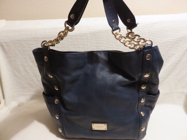 63560a479ed2 Blue Authentic Bag Purse Handbag 100% Genuine Leather GOLD Hardware, MICHAEL  KORS ...