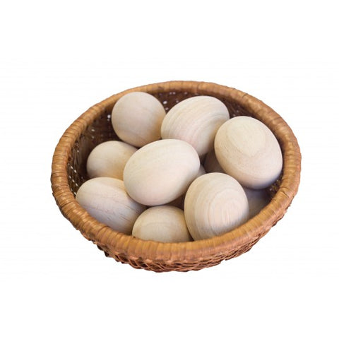 basket of wooden eggs - available