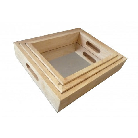 rectangular mirrored trays - set 3