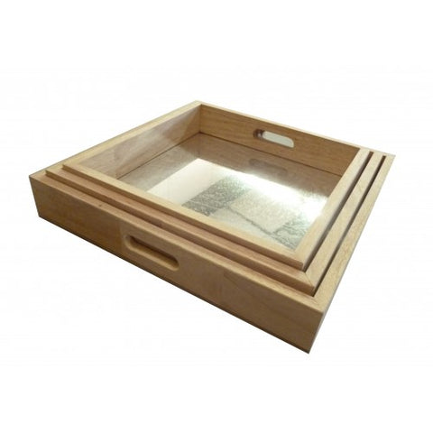 square mirrored trays - set 3