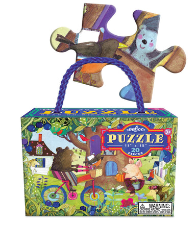 20 piece puzzle - bear on bike
