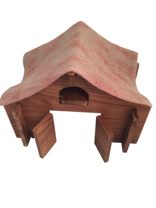 barn with felt roof and ladder