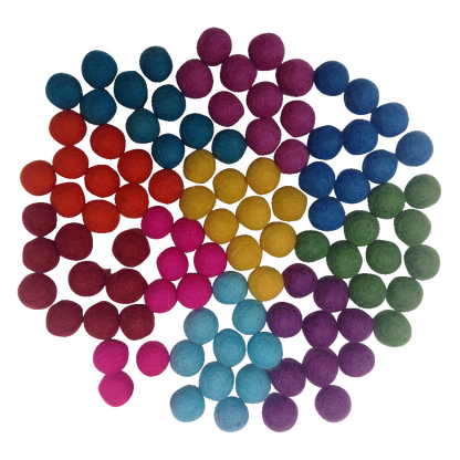 mini felt wool balls - pack 100 - summer