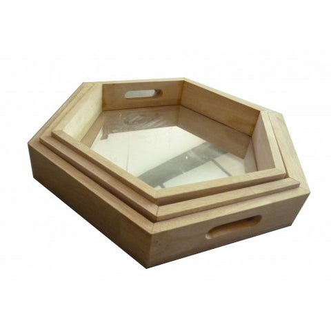 hexagonal mirrored trays - set 3