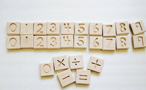 wooden number tiles - available