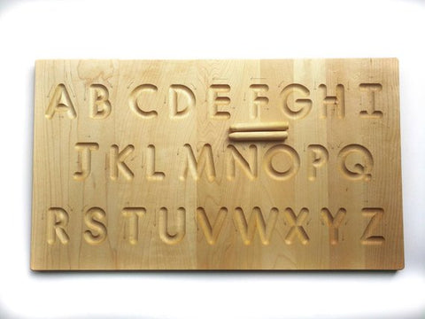 wooden alphabet tracing board