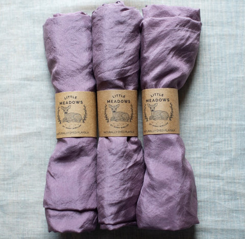 naturally dyed playsilks - lavender