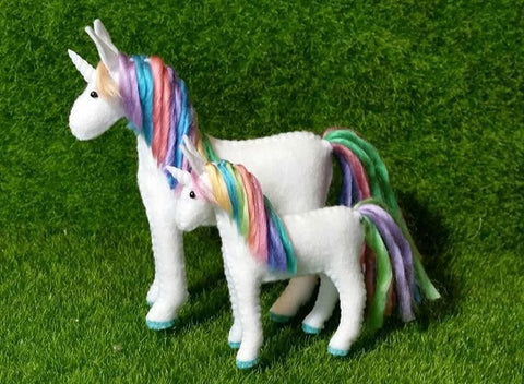 felt unicorn baby - rainbow