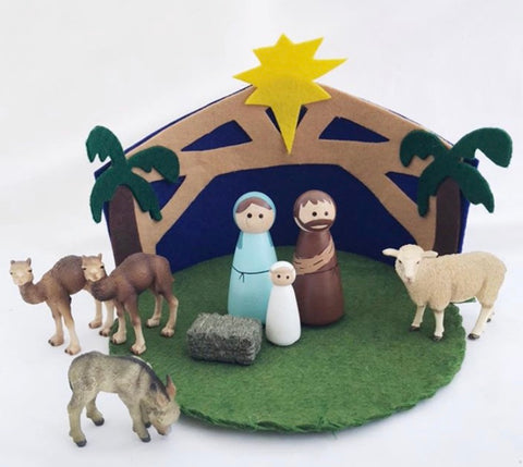 nativity play mat and peg dolls - available