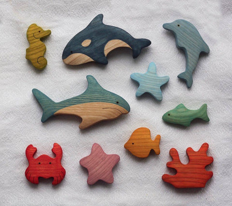 wooden sea life set - 10pc - PREORDER