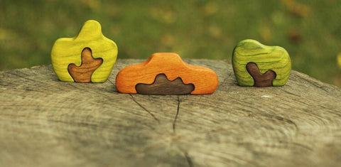 wooden autumn puzzle bush set