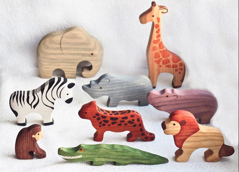 wooden african animals set - 9pc