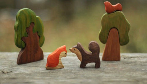 wooden dog and cat set - 2pc