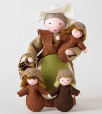 mother earth doll with two seedling babies - available