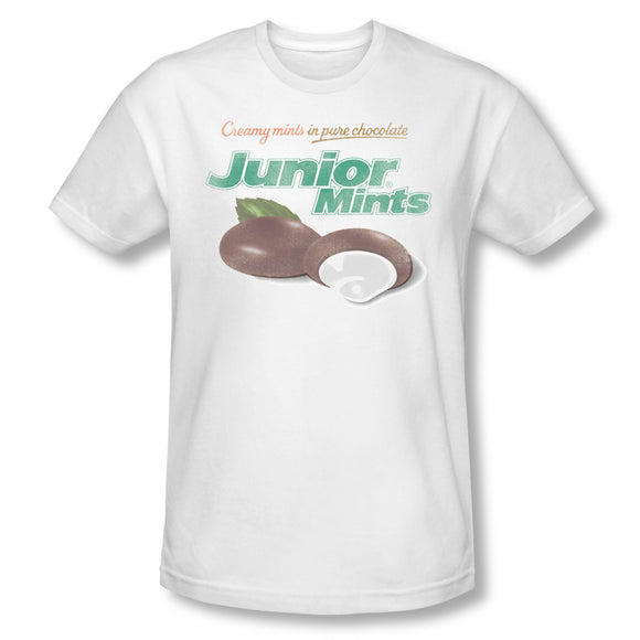 Junior Mints Logo (White) Slim Fit Tee - TootsieShop.com