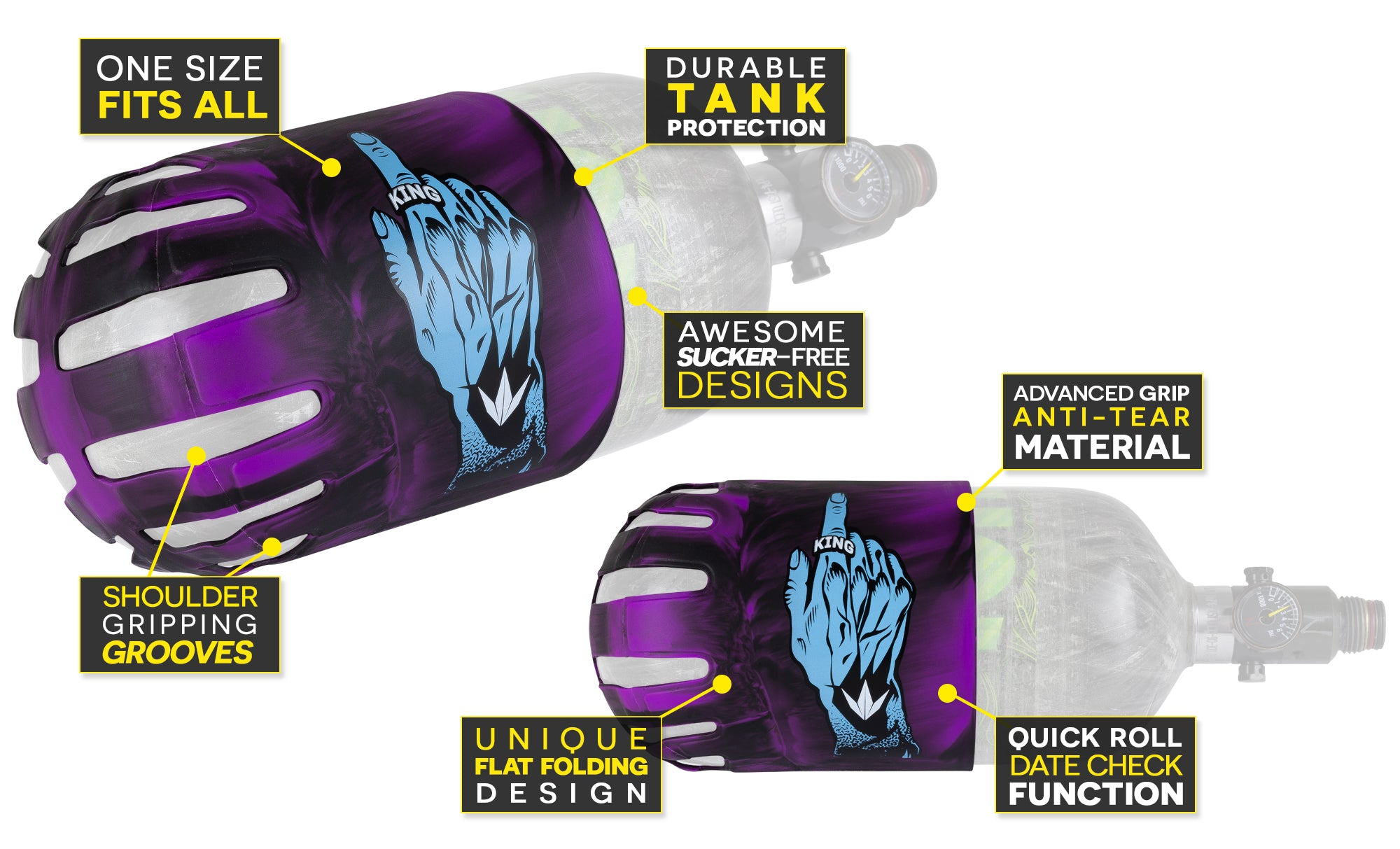 Knuckle Butt - Tank Cover - King Finger - Purple - Feature Call-Out