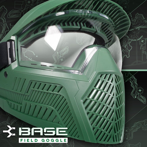 Base Single Anti-Fog Field Paintball Goggle - Olive