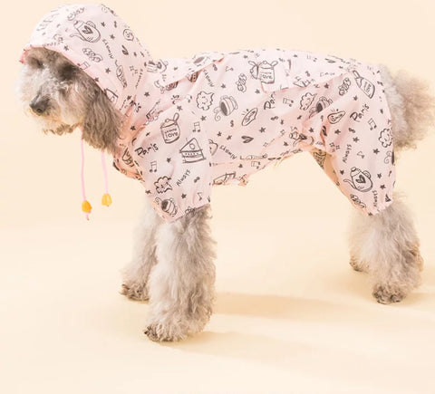 Dog Raincoat with Carton Pattern (Small Breed)