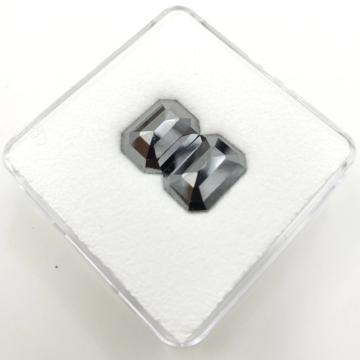 Black Diamond 11x8mm Emerald Cut Step Cut - Rose Cut