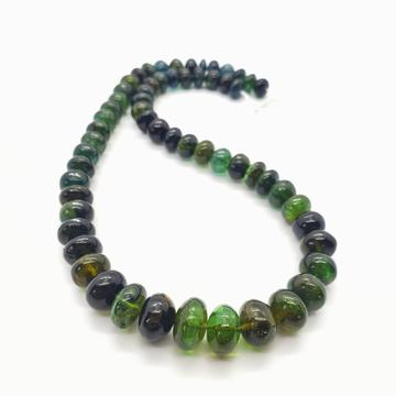 Chrome (Green) Tourmaline Smooth Roundel 8-12mm Beads