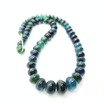 Chrome / Indicolite (Green) Tourmaline Smooth Roundel 9-12mm Beads