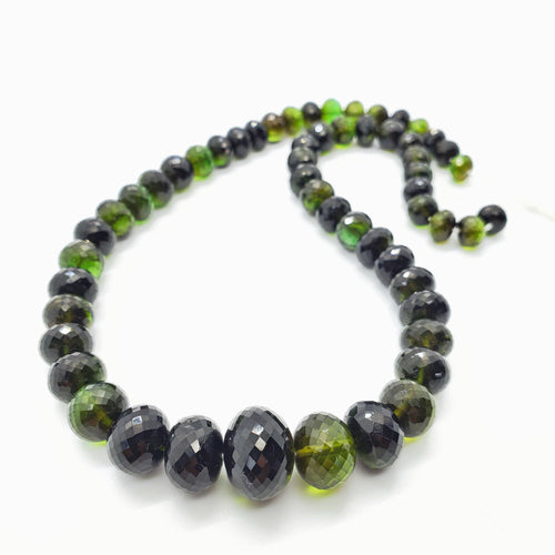Chrome (Green) Tourmaline Faceted Roundel 8-15mm Beads