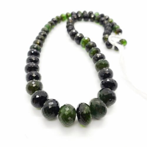 Chrome (Green) Tourmaline Faceted Roundel 7.50-12mm Beads