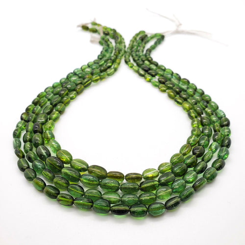 Chrome (Green) Tourmaline Smooth Oval 5x7mm - 6x8mm Beads