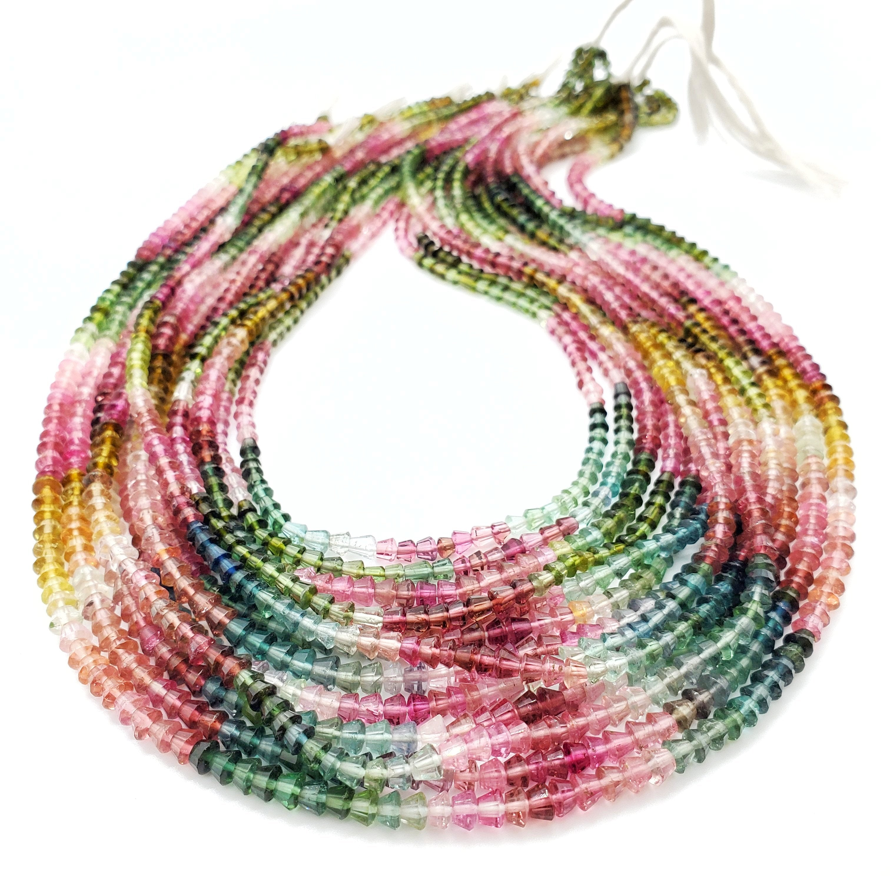 Fine Quality Multi Color Tourmaline Faceted Apollo Shape Beads