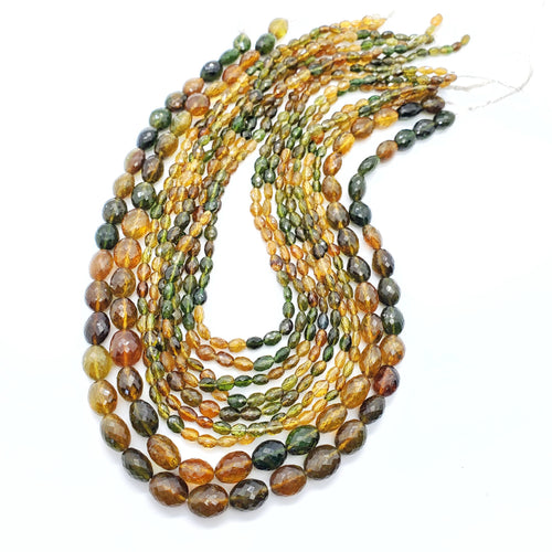 Autumn Tourmaline Faceted Oval Beads