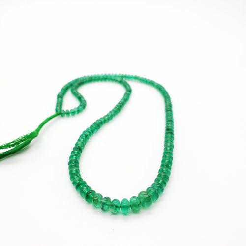 Emerald Smooth Roundel Beads 3.70-5.80mm