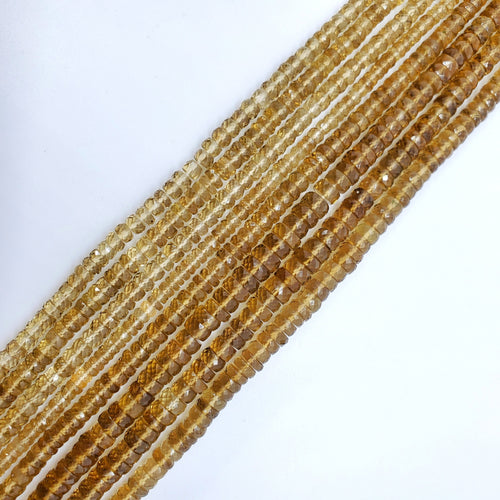 Cognac Quartz Faceted Tire Shape Beads 5-6mm
