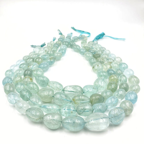 Aquamarine Smooth Nugget / Pebble Shape Beads 11-20mm
