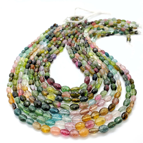 Bi-Color Tourmaline Faceted Oval Beads