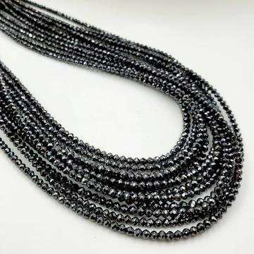 Black Diamond Faceted Rondelle AAA