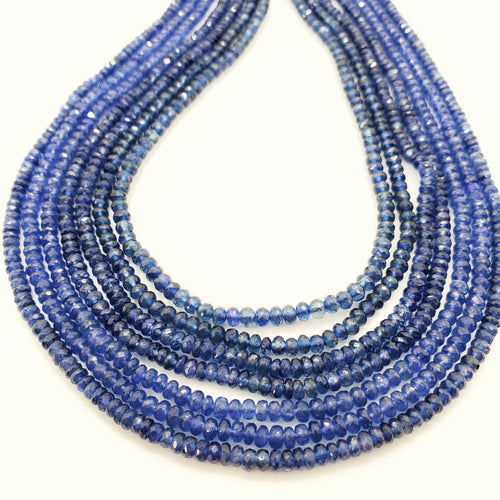 Blue Sapphire Faceted Roundel Beads 3mm