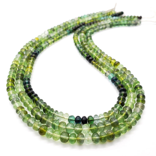 Blue Green Tourmaline Smooth Roundel 5.00mm - 5.50mm Beads