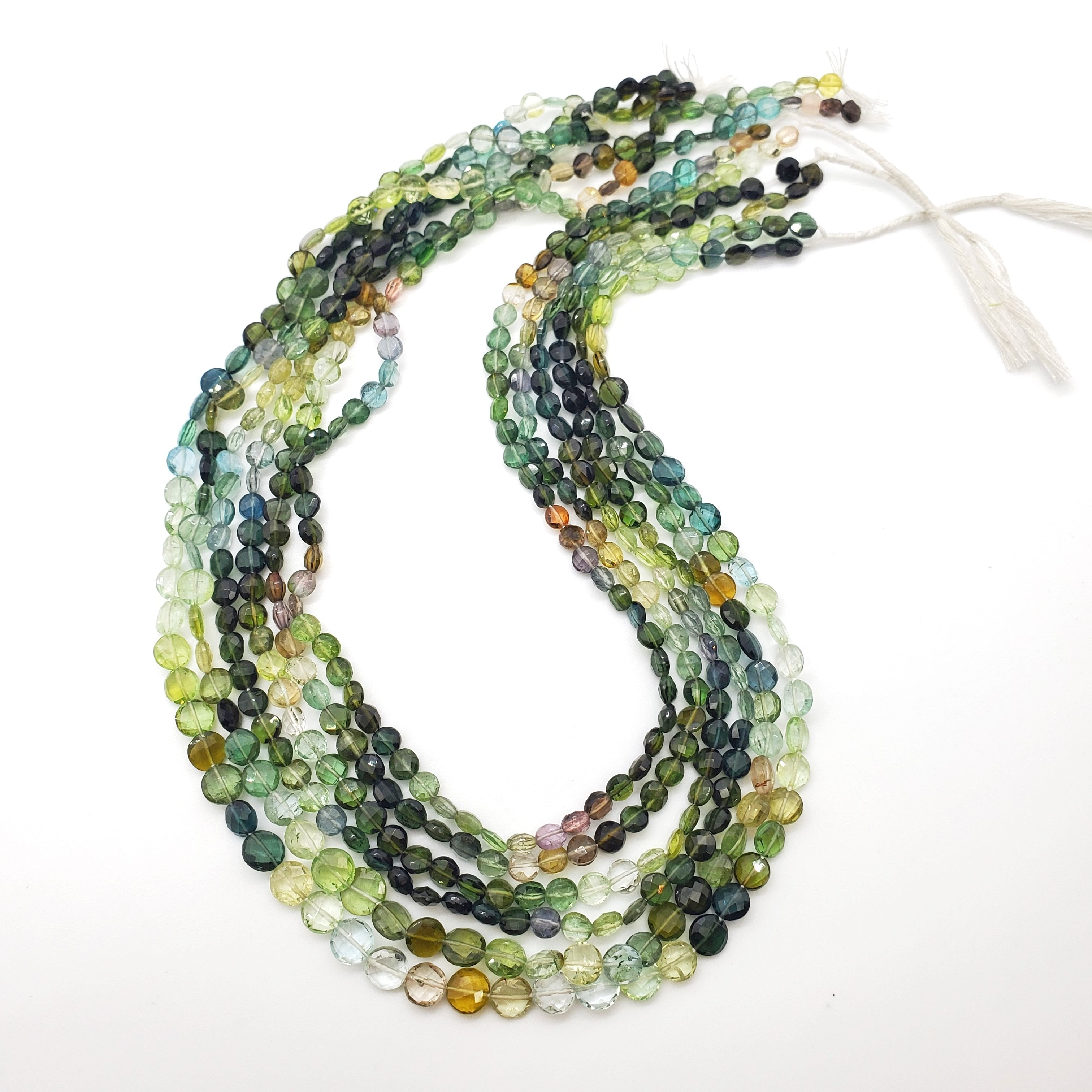 Blue / Green Tourmaline Faceted Coin Shape Beads