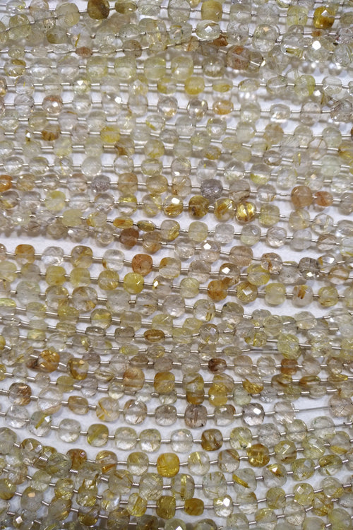 Rhutilated Quartz Faceted Checker Beads (MULTIPLE SIZES)
