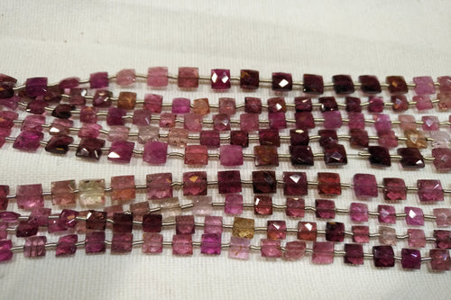 Pink Tourmaline Faceted Square Checker Beads