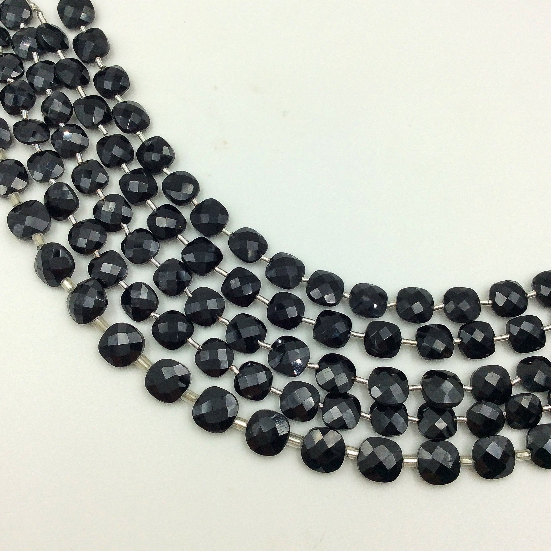 Black Onyx Faceted Checker Beads (MULTIPLE SIZES)