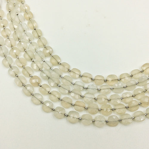 White Moonstone Faceted Checker Beads (MULTIPLE SIZES)