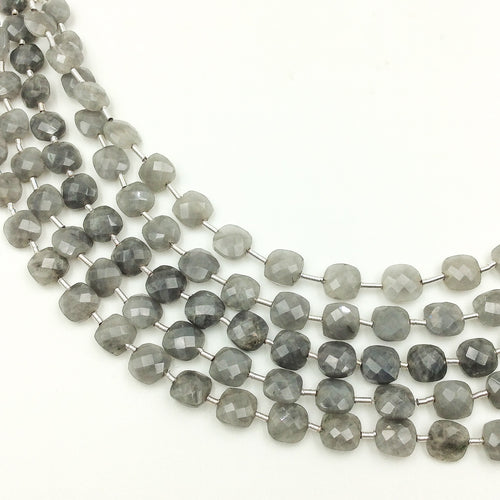 Grey Quartz Faceted Checker Beads (MULTIPLE SIZES)