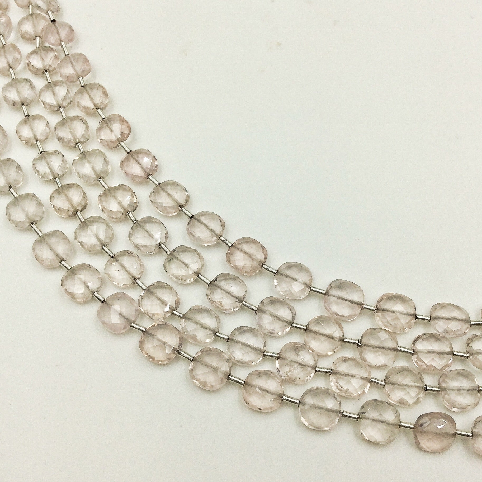 Rose Quartz Faceted Checker Beads (MULTIPLE SIZES)