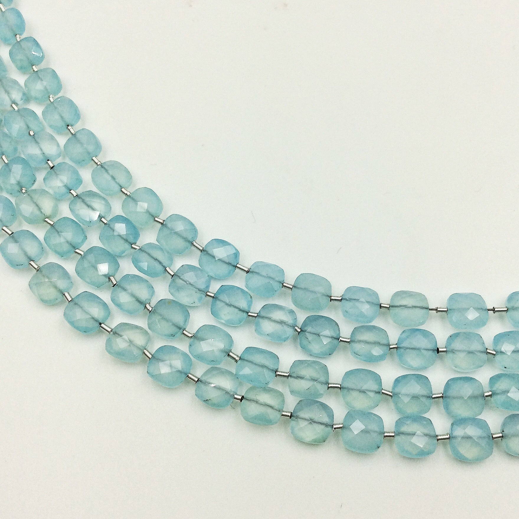 Aqua Chalcedony (Dyed) Faceted Checker Beads