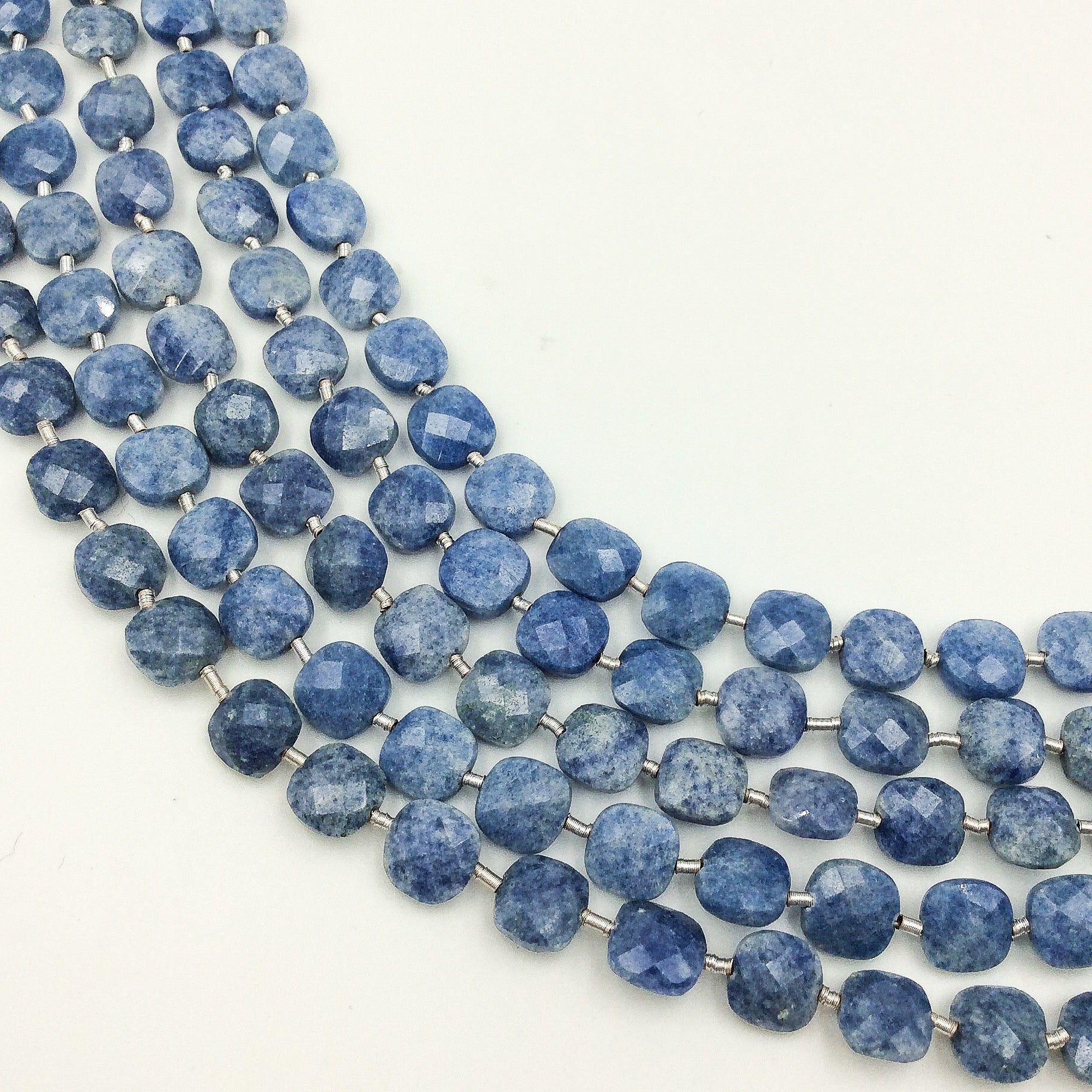 Blue Quartz Faceted Checker Beads (MULTIPLE SIZES)