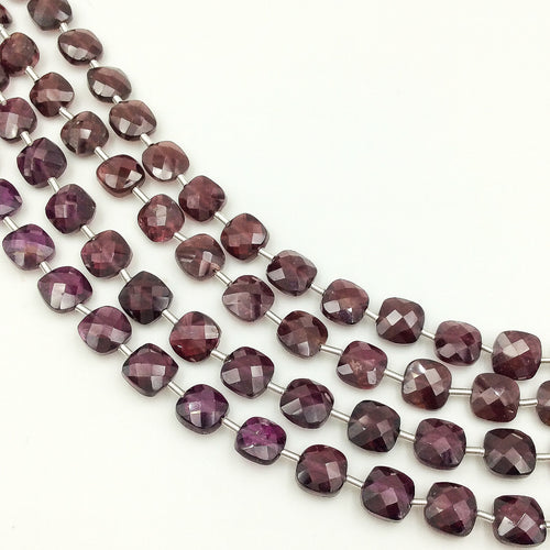 Red Garnet Faceted Checker Beads (MULTIPLE SIZES)