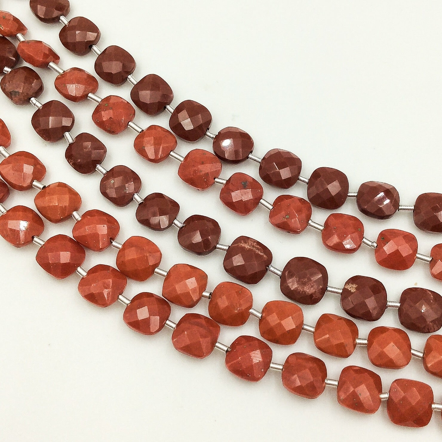 Red Jasper Faceted Checker (MULTIPLE SIZES)
